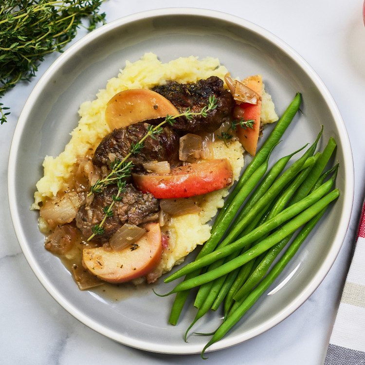 Joues de bœuf au cidre, légumes rôtis